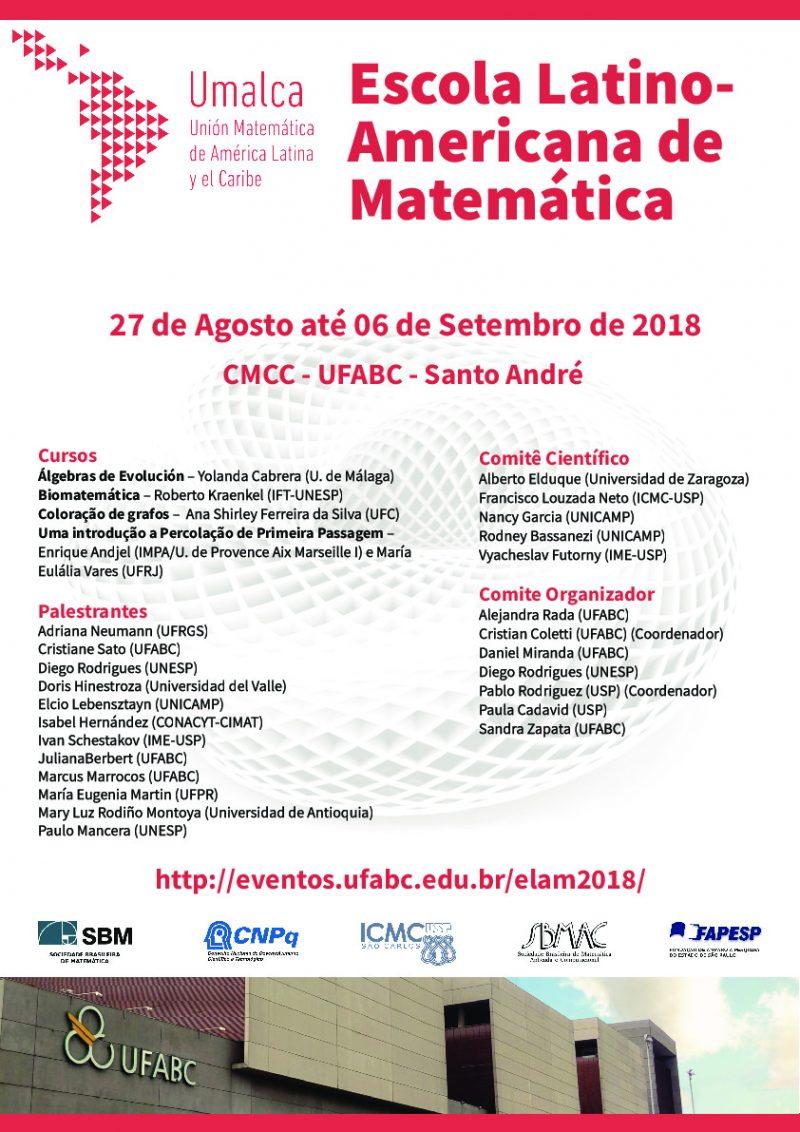 Escola Latino Americana de Matemática 2018 - 27 de Agosto até 06 de Setembro